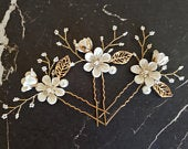 Bridal Hair Pins, Pearl Crystal Flower Wedding Hair Pins, Hair Jewelry Hair Vine Wedding Hair Accessory, White and Gold Hair Pieces