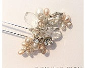 The Jacindana Hair Pin, vintage inspired hair comb, pearls rhinestone crystal and sterling silver
