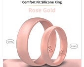 Silicone Wedding Ring Band True Comfort Fit in Rose Gold 4mm or 6mm