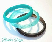 Super Thin Dainty Stackable Silicone Rings, Teal, Black, Glitter Womens Wedding Bands, New Style, THINNEST Silicone Rings