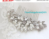 PreThanksgiving Sale Wedding Hair Comb Silver, Bridal Hair Comb, Vintage Rhinestone Floral Hair Comb HC129S Free US Shipping