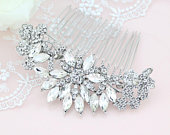 Bridal Silver Comb, Crystal Headpiece, Wedding Bridal Hair Accessory, Rhinestone Comb, Wedding Hair Clip, Silver Crystal Hair Combs