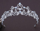 Dainty Bridal Blue Crystal Crown, Bridal Blue Tiara, Elegant Rhinestone Crown, Opal Tiara, Opal Crown