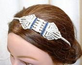 OOAK Vintage 1920 Art Deco Sapphire Headpiece,Navy Blue Rhinestone Bridal Headband,Wedding Hairpiece,Flapper Fascinator Gatsby Downton Tiara