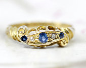 Antique Sapphire Diamond Engagement Ring, Edwardian Victorian Three Stone Ring, 18k Yellow Gold Anniversary Ring Promise Ring, 1900s Wedding