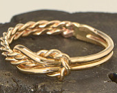 Yellow Gold Color Infinity Knot Ring, Knot Promise Ring, Thumb Ring, Knotted Ring, Gold Filled Ring, Infinity Jewelry, Gift For Her