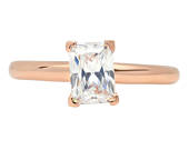 Tiny Promise Ring, Promise Ring Tiny, Ring Promise Tiny, 1.0 Ct Simulated Emerald Cut Solitaire Engagement Wedding Rings 14k Rose Gold