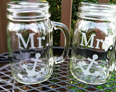 Mr. Mrs Etched Glass Mason Jar Glasses Set of 2 with Anchor Nautical Theme Wedding Reception Shower Gift Glasses