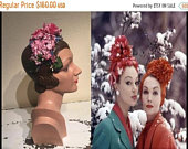 Holiday Sale 30% Off Their Gossip Was Lowered Whispers Vintage 1950s Rose Pinks Hot Pinks Floral Bandeau Half Hat Fascinator