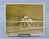 WW2 Vintage Boxing Match Photograph, Official US Navy 8x10 Photo circa 1944 from Dutch Harbor Alaska Naval Base, Boxers in the Ring