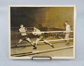 Boxers in the Ring, WW2 Vintage Boxing Match Photograph, Official US Navy 8x10 Photo circa 1944 from Dutch Harbor Alaska Naval Base