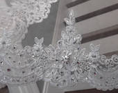Extravagantly Beaded French Alencon Lace Fingertip, Cathedral, Royal Cathedral or Regal Cathedral Wedding Veil