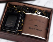 Groomsman Gift Lighter and Flask, Groomsman Proposal Gift Box, Dark Leather Flask Cigar Lighter in Wood Box