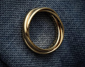 Gold Triple Interlocked Ring Intertwining Rings Three Rolling Minimal Rings Christmas / Thanksgiving Gift For Mom / Friend / Self