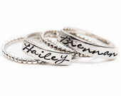 Sterling silver stacking kids name rings, gifts for mom, Mothers Rings, Presents for Her, Personalized Jewelry, Hand Stamped Ring