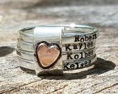 Mothers rustic stacking rings, personalized rings, mother ring set, sterling silver, hand stamped, gift for her, anniversary gift