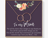 Mom Necklace: Mother Necklace, Mom Gift, Mothers Day Gift, Mothers Day Necklace, Mother Daughter Gift, 2 Interlocking Circles
