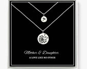 Mother Daughter Necklace Sterling Silver Dandelion Necklace, Mothers Gift, Set of 2 Necklaces