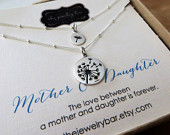 Mother daughter dandelion necklace, mom birthday gift, wedding gift ideas for mom, satellite chain, mothers day gift, family, sharing set