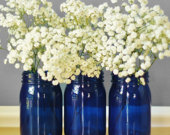 Best Selling Items Cobalt Blue Glass Vase Mason Jar Decor Painted Mason Jar Centerpieces Apothecary Jars Canister Set College Student Gift