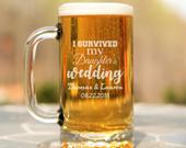 I Survived My Daughters Wedding Beer Mugs, Gift for Parents, Gift for Mom, Mother of the Bride, Father of the Bride, Mother of the Groom