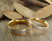 18K Gold Hand Make His Hers Matching Pattern Wedding Engagement Anniversary Titanium Rings Set Court Shape
