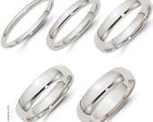 14k White Gold Bands / Plain Polished Domed Comfort Fit / Mens Womens Wedding Band Ring Set / 2MM 3MM 4MM 5MM 6MM / His Hers / Solid Gold