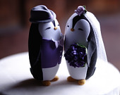 PENGUIN Wedding Cake Topper With vest and lapel for groom Warranty Protection Included