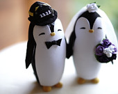 PENGUIN FIREFIGHTER Wedding Cake Topper Warranty Protection Included