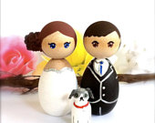 Wedding Cake Topper with Pet Dog Or Cat, Bride Groom Custom Wedding Cake Topper with Dog, Kokeshi Cake Topper, Peg Doll Figurines