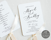 Wedding Program Fan, TRY BEFORE You BUY, Printable Wedding Ceremony Fan Template, 100% Editable, Instant Download