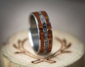 The Rio Wood and Antler Wedding Ring on Titanium Band Staghead Designs