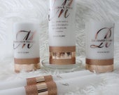 Unity candle set, Rose gold,Gold,Family unity candle, Wedding Candle, Personalized, Monogram Family candle, Perfect gift