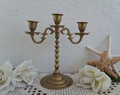 Vintage Wedding Unity Candle Holder Gold Brass Candelabra Rustic Shabby Chic Cottage Mid Century Hollywood Regency French Country Home Decor