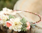 Ivory peach succulent grass flower crown, Flower headband, wedding flower crown, bridal flower crown, bohemian flower crown, side crown