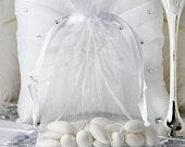 50 White 5X7 Organza Bags, Sheer Favor Bags, Wedding Favor Bags, Drawstring Jewelry Pouch, Party Gift Bags, Sheer Drawstring Pouch