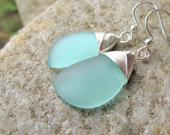 blue sea glass earrings, recycled mint beach glass jewelry