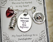 FT, Firefighter Necklace With Multifaceted Heartshaped Crystal, Fire Hydrant Charm, Firefighter Hat Pendant, Firefighter Necklace