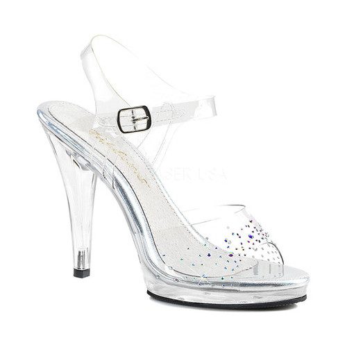Women's Fabulicious Flair 408SD Ankle-Strap Sandal, Size: 13 M, Clear PVC/Clear