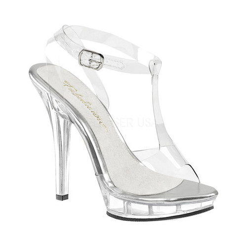 Women's Fabulicious Lip 118 T-Strap Sandal, Size: 5 M, Clear PVC/Clear