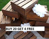 Wood Crates 7x7x3 wedding table centerpiece , Rustic Home Decor , wedding reception , wedding decorations , country wedding , table