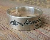 Silver Duck Band Wedding Ring Personalized Wedding 8mm Band Custom Engraved Ducks Hand Stamped Banded for Outdoorsman Duck Hunter