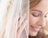 Pearl Bridal Veil, Beaded Wedding Veil, 1 Layer Veil, Ivory Veil, White Veil, Fingertip Veil, Elbow Veil, Veil for Bride, Comb Veil VB5046