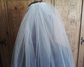 White or Ivory Waist Length Veil Two Tier Wedding Veil Rolled Edge Bridal Illusion Tulle Two Layer Veil 30 inches Long
