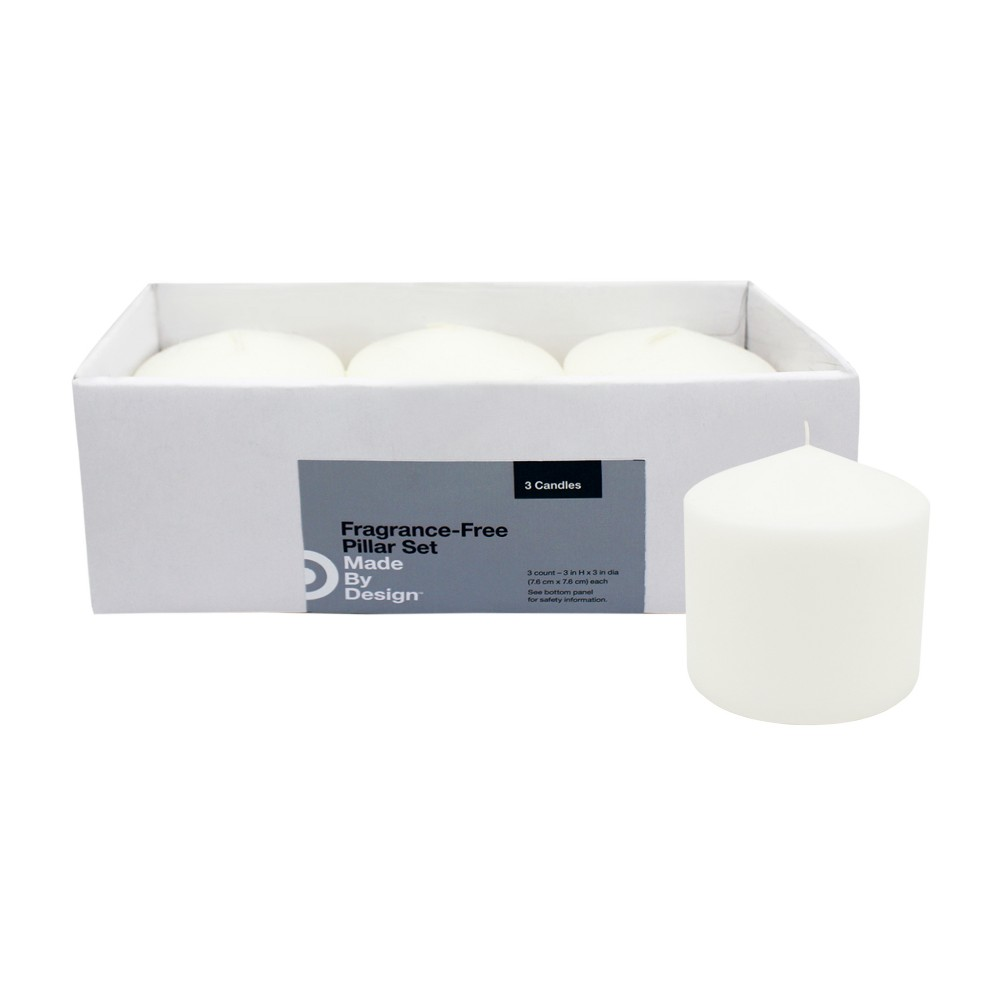 "3"" x 3"" 3pk Unscented Pillar Candle Set White - Made By Design"
