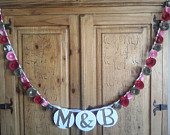 Paper Rose Garland Wedding Garland With Initials, Paper Flower Banner, Reception Decor, Bridal or Baby Shower, Photo Prop, You Choose Color
