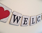 WELCOME Sign/Banner 5 x 5 in Gray Banner Wedding Graduation Wedding Decoration