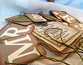 MR. and MRS. Garland / Banner Wedding pennant 4 x 4 Brown Chipboard Moss Green / Ivory / Brown / Olive Vintage/ Rustic Garland