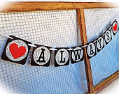 ALWAYS Chipboard 4 x 4 Wedding Sign/banner Black and white Shabby chic Style Engagement party
