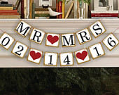 MR MRS Save The Date Banner Wedding Garland Sign Photo Booth Props